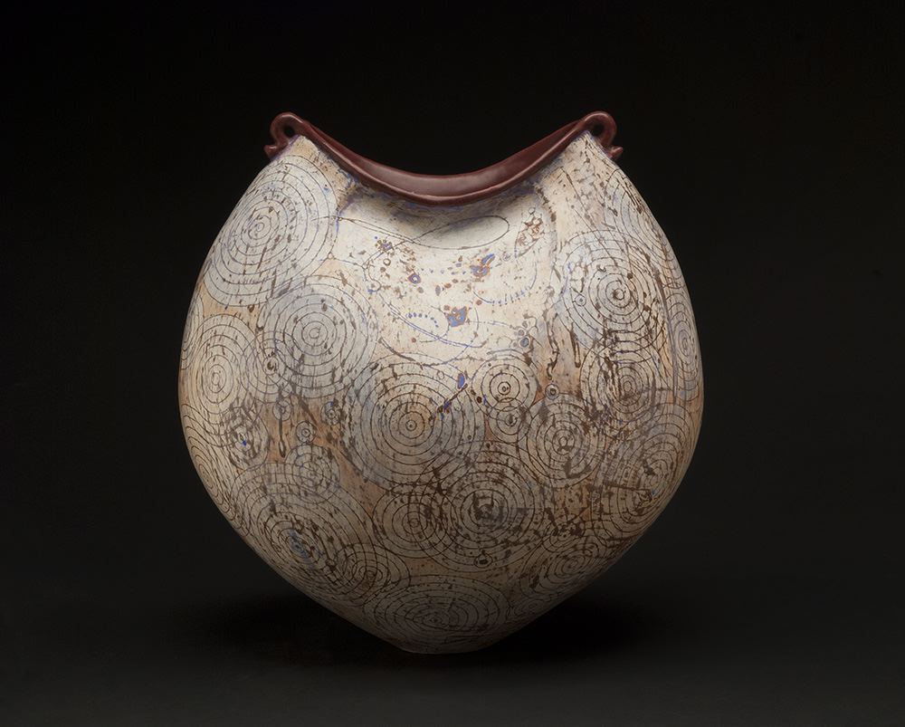 Melanie Ferguson    Rippled Resonance Inhales The Way  , 2013 Handbuilt stoneware (coil method), sgraffito, oxide stains, crackle slip 14 x 13 x 9 inches 35.6 x 33 x 22.9 cm MFe 6