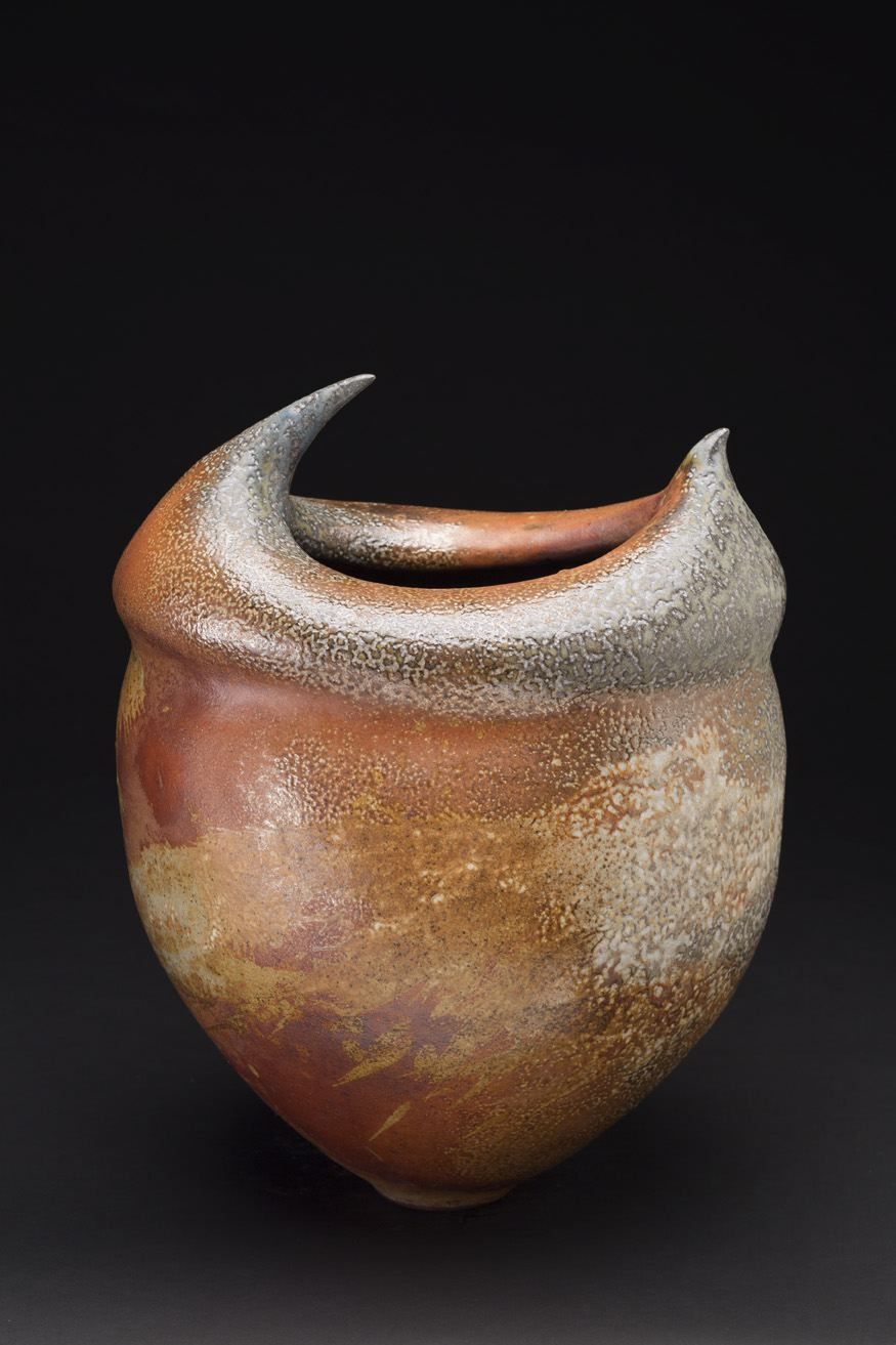 Melanie Ferguson    Ripe Berries Moon  , 2015 Handbuilt stoneware, flashing slips, oxide stains, soda fired, heavy reduction 15 x 10 x 8 inches 38.1 x 25.4 x 20.3 cm MFe 27