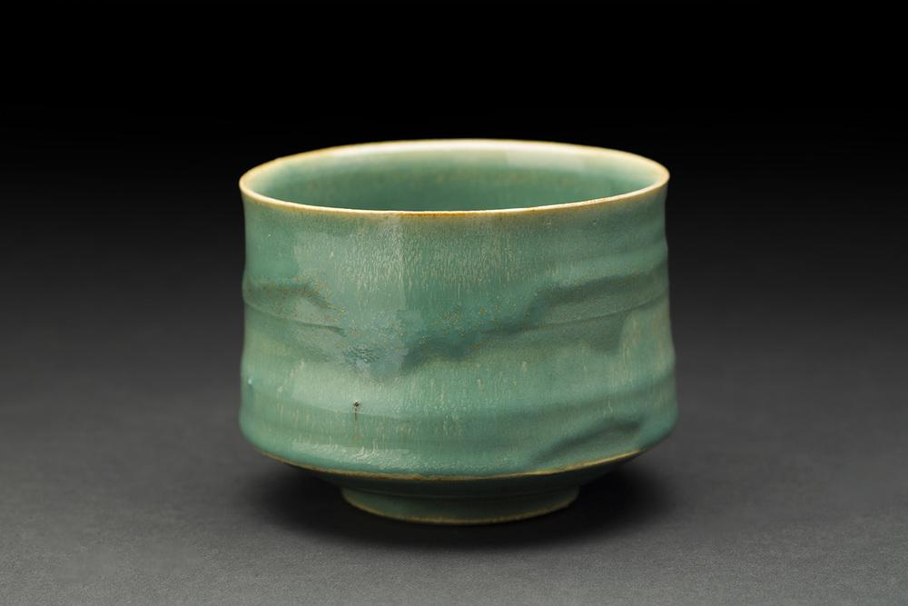 Akihiro Nikaido    Chawan  , 2016 Clay with green Mashiko glaze 3 x 4 x 4 inches 7.6 x 10.2 x 10.2 cm ANk 49