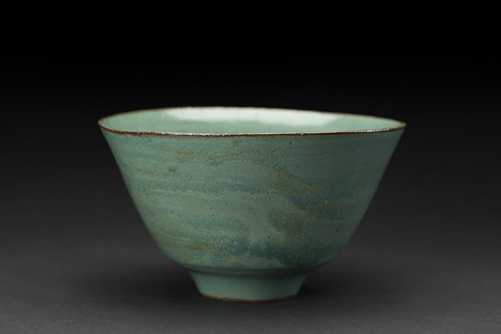 Akihiro Nikaido    Chawan  , 2016 Clay with green Mashiko glaze 3 x 5 x 5 inches 7.6 x 12.7 x 12.7 cm ANk 50