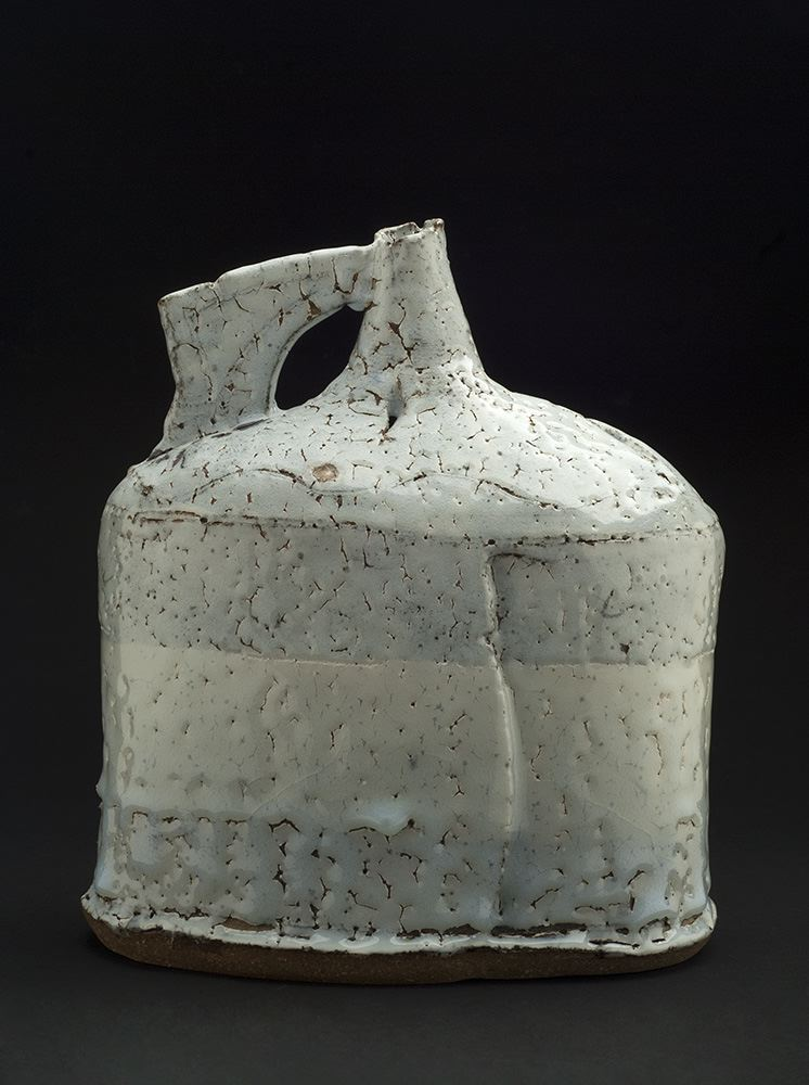 Jane Wheeler    Black Ice Flagon  , 2013 Stoneware clay with chun glaze, slab built 10.5 x 9.75 x 5.75 inches 26.7 x 24.8 x 14.6 cm JWh 2