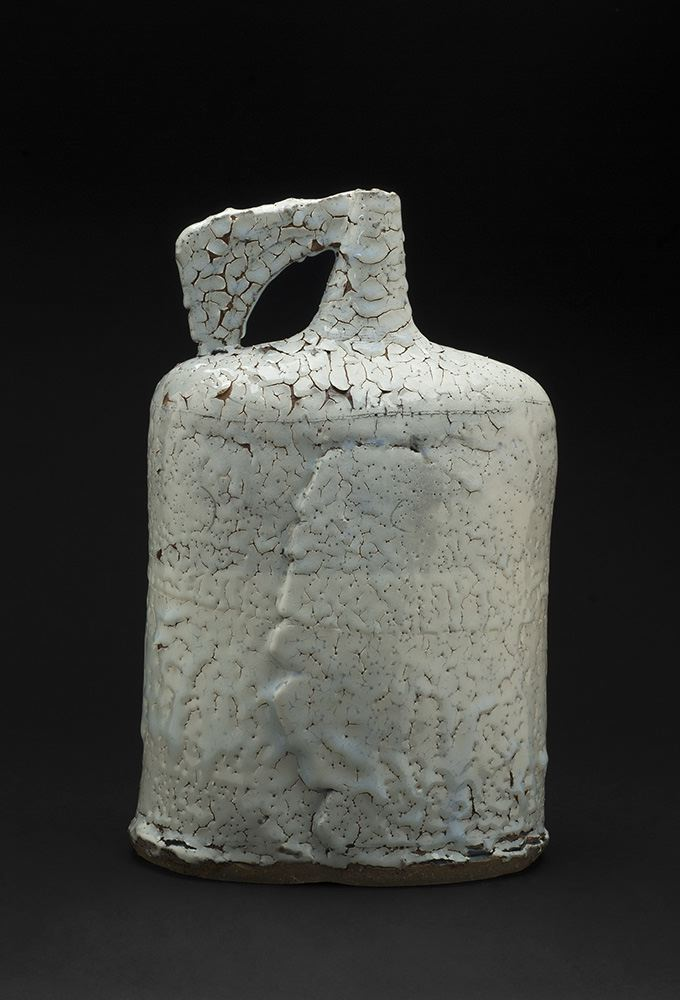 Jane Wheeler Black Ice Flagon, 2013 Stoneware clay with chun glaze, slab built 14.75 x 9.45 x 6.5 inches 37.5 x 24 x 16.5 cm JWh 3