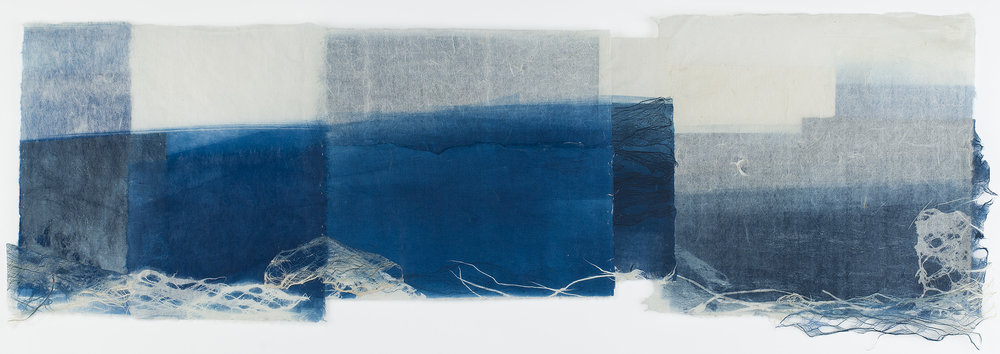 Yuko Kimura    Little Wave III  , 2016 Monotype on kozo (mulberry) handmade paper, kozo bark fiber, thread, collage 13 x 40 inches 33 x 101.6 cm YuK 38