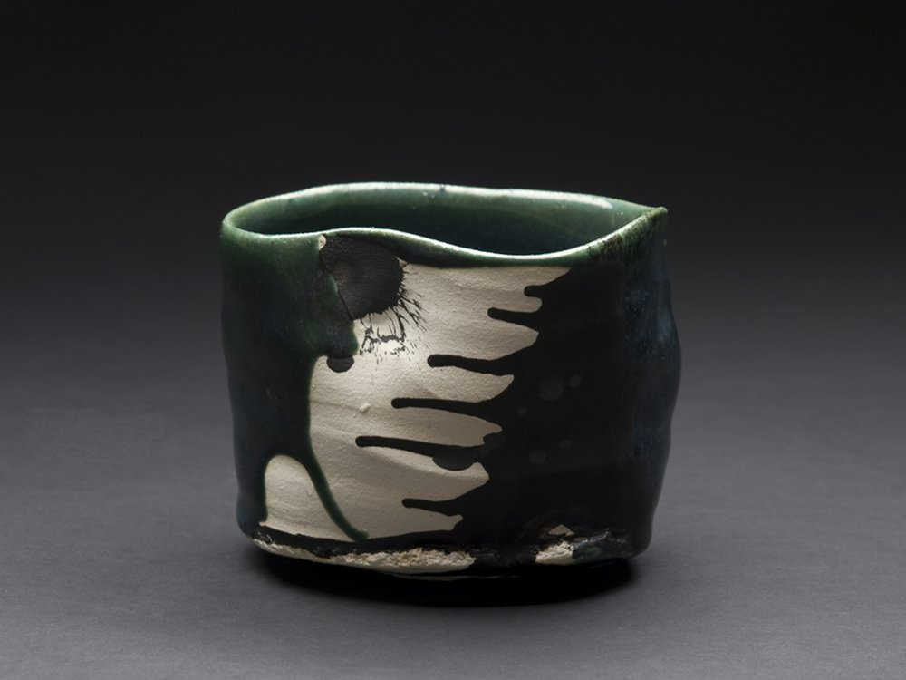Robert Fornell Oribe Chawan, 2012 Clay, oxidation fired to cone 7 3.5 x 4.5 x 4 inches 8.9 x 11.4 x 10.2 cm RFo 39