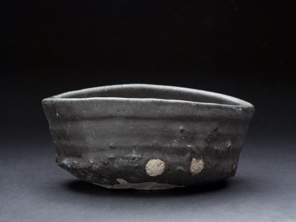 Shiro Tsujimura Kuro-Oribe Chawan, 2007 Mixed iron, charcoal (mokutan), Chooseki, etc, and firing with 1300C. And then proceed by rapid cooling, make it become black color 3 x 6.5 x 5 inches 7.6 x 16.5 x 12.7 cm STs 2