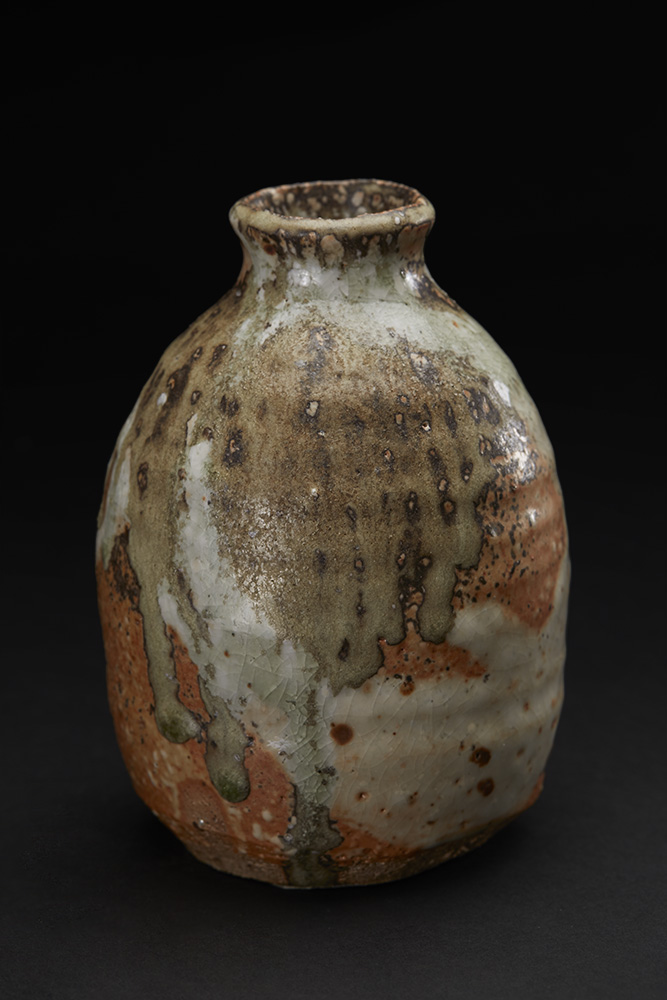 Mike Weber Tokkuri, 2016 Ceramic, high-fired in anagama wood-fire kiln for multiple days, shino glazed with natural forming ash glaze 6 x 4 x 4 inches 15.2 x 10.2 x 10.2 cm MWe 18