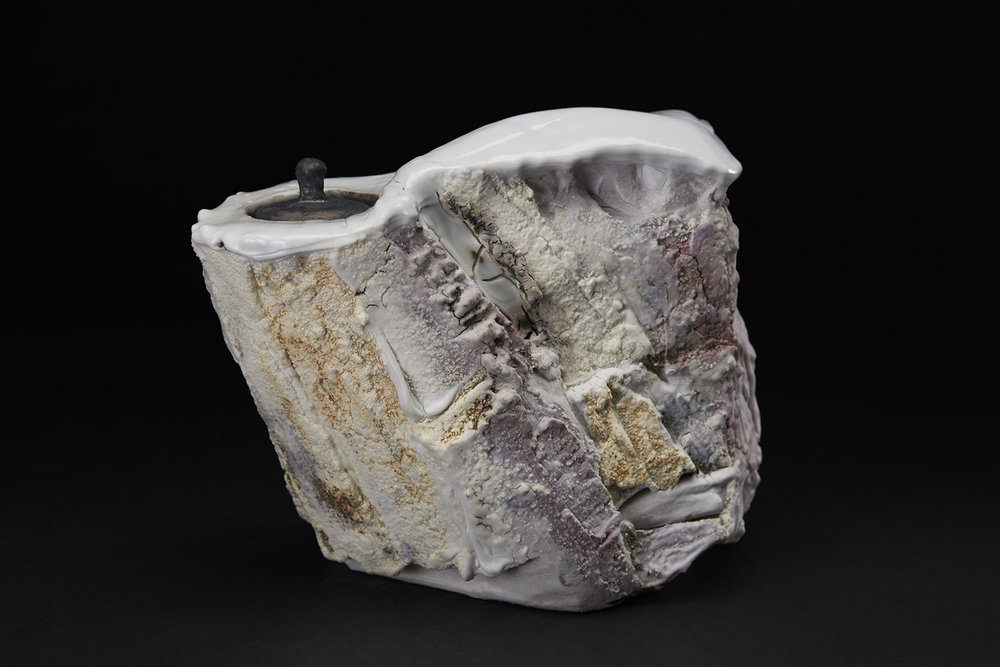 Eddie Curtis Vessel, 2016 Stoneware, reduction fired in brick built oil kiln at 1300 Celsius. Kurinuki technique, applied texture and oxides to outer surface, snow white shino to rim and inner surface 6.3 x 6.69 x 4.33 inches 16 x 17 x 11 cm ECu 15