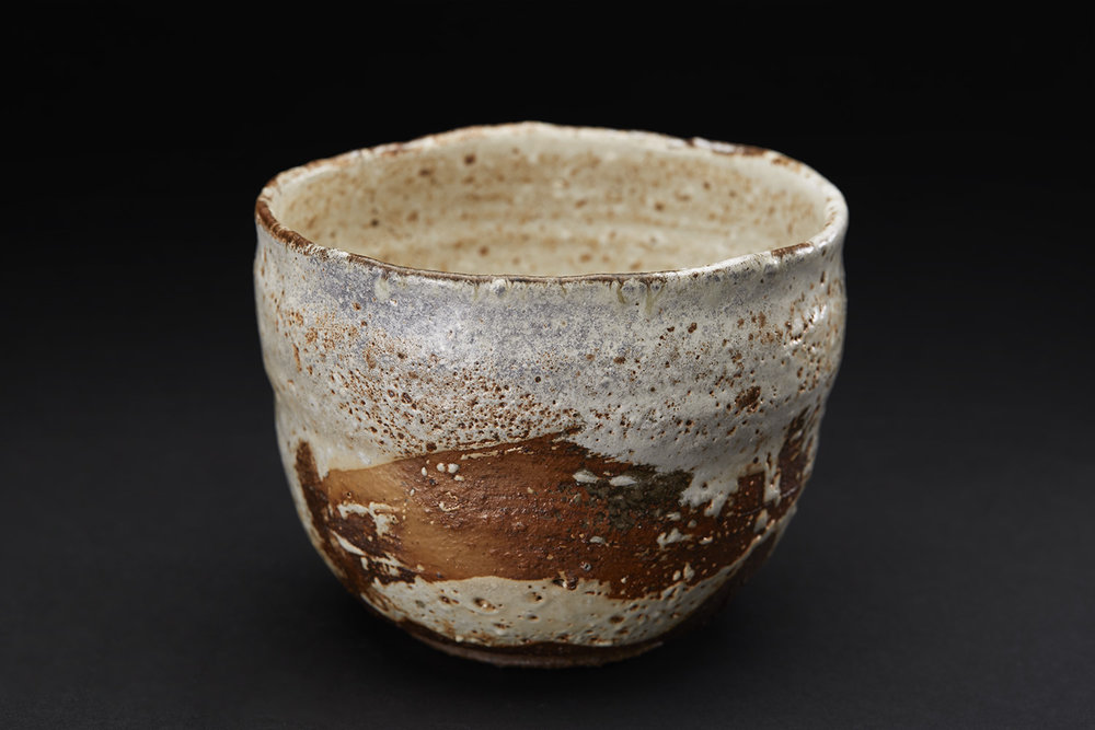 Mike Weber Matcha Chawan, 2016 Ceramic, high-fired in anagama wood-fire kiln for multiple days, shino glazed with natural forming ash glaze 4 x 5 x 4.5 inches 10.2 x 12.7 x 11.4 cm MWe 11
