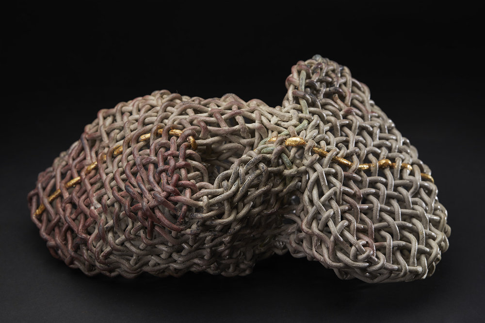 Phyllis Sullivan Vortex with Gold Line No. 5, 2016 Stoneware, gold leaf 6 x 12 x 7.5 inches 15.2 x 30.5 x 19.1 cm PSu 8