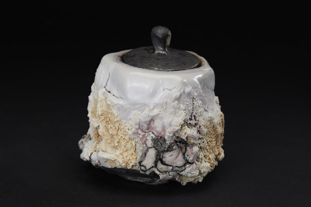 Eddie Curtis Cha-ire, 2016 Stoneware, reduction fired in brick built oil kiln at 1300 Celsius. Kurinuki technique, applied texture and oxides to outer surface, snow white shino to rim and inner surface 3.54 x 3.15 x 3.15 inches 9 x 8 x 8 cm ECu 13