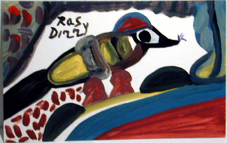 Ras Dizzy Birds Creativity..., 1998 Oil on matboard 9.75 x 15.75 inches 24.8 x 40 cm RD 91
