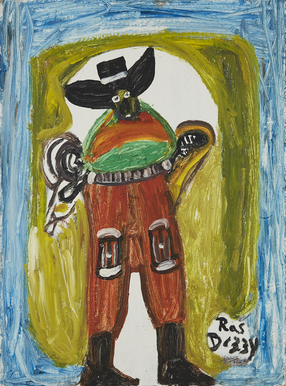 Ras Dizzy Tomi Scott - One of the Shefield Cowboys, 1988 Tempera on matboard 20.5 x 14.24 inches 52.1 x 36.2 cm RD 7