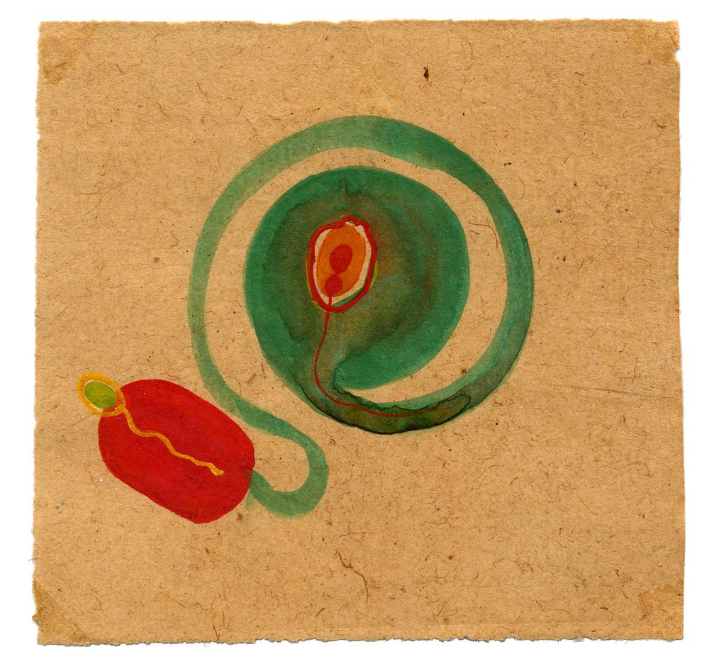 Tantra    Untitled  , ca. 1980-2014 Natural pigments (hand-ground colors: including minerals, mother of pearl, coral, tree resin, vegetable pastes) on vintage paper 4.8 x 5 inches 12.2 x 12.7 cm Tant 8
