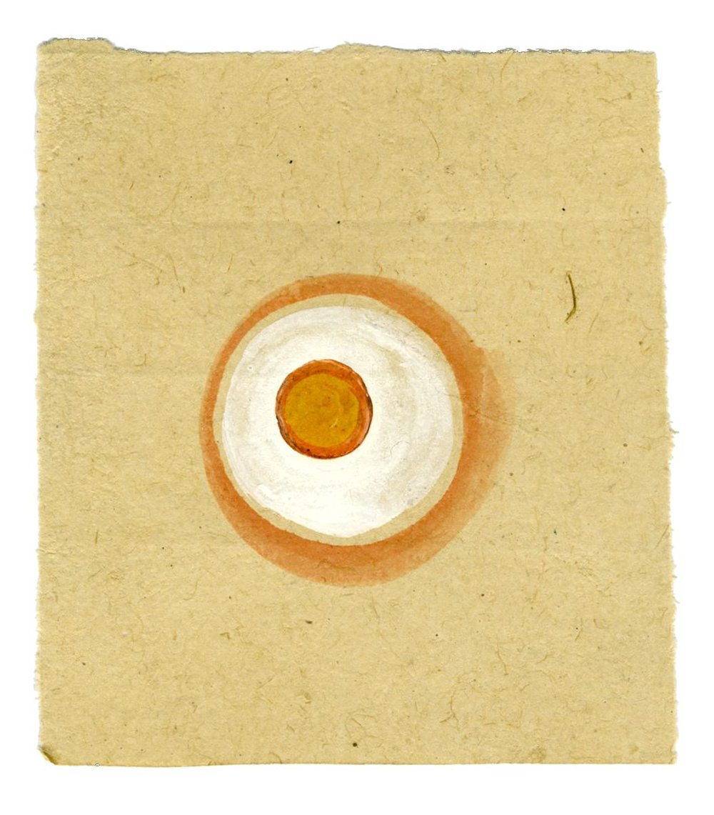 Tantra    Untitled  , ca. 1980-2014 Natural pigments (hand-ground colors: including minerals, mother of pearl, coral, tree resin, vegetable pastes) on vintage paper 5.35 x 4.72 inches 13.6 x 12 cm Tant 14