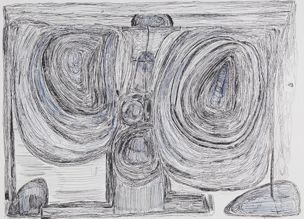 Eric Derkenne    Untitled  , 2004 Ballpoint pen on paper 18.11 x 25.2 inches 46 x 64 cm DERK 2