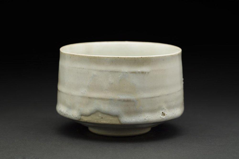 Akihiro Nikaido    Chawan  , 2016 Clay with 'rice white' Mashiko glaze 3 x 4.5 x 4.5 inches 7.6 x 11.4 x 11.4 cm ANk 52