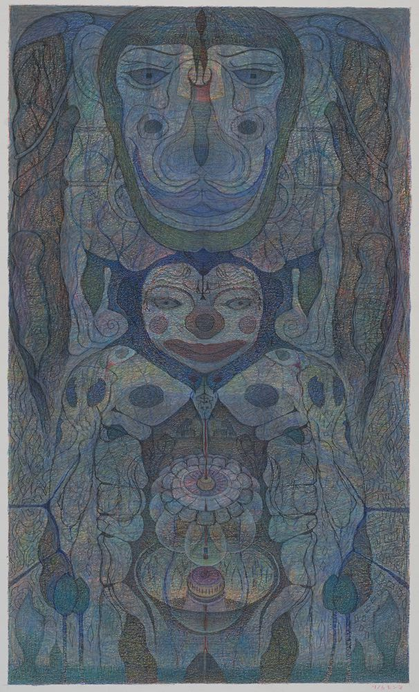 M'onma    Untitled  , 2001 Colored pencil on paper 18.75 x 11.125 inches 47.6 x 28.3 cm IMo 57