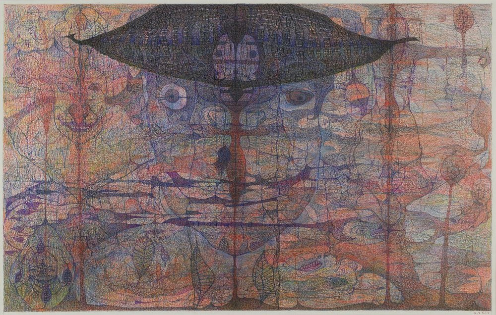 M'onma    Untitled  , 2004 Colored pencil on paper 13.19 x 20.75 inches 33.5 x 52.7 cm IMo 70