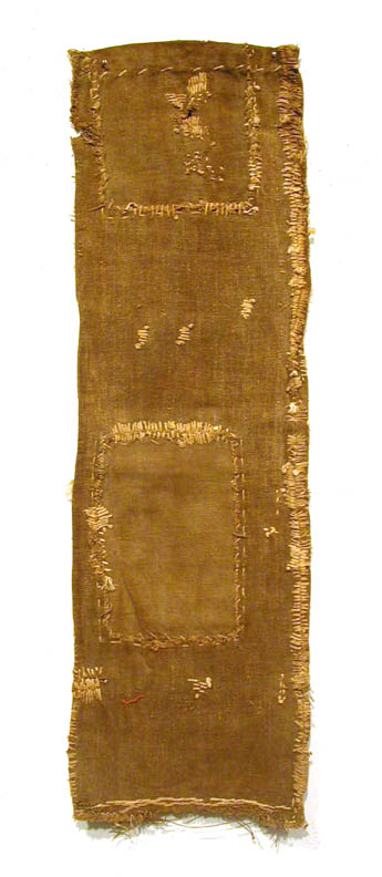 Japanese Textiles    Sake Bag  , Pre-WW II Persimmon juice dye/cotton 27 x 8 in(68.6 x 20.3 cm) JTex 6