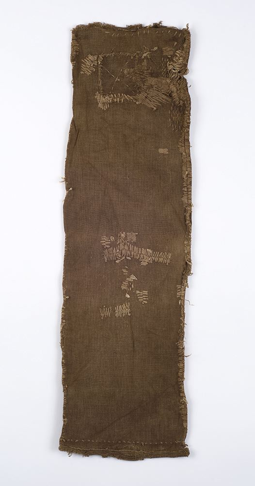 Japanese Textiles    Sake Bag  , Pre-WW II Persimmon Juice Dye/Cotton 29 x 8 in(73.7 x 20.3 cm) JTex 8