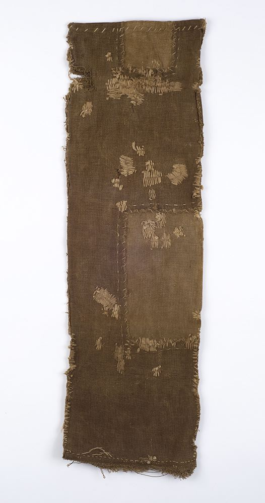 Japanese Textiles    Sake Bag  , Pre-WW II Persimmon juice dye/cotton 29 x 8.5 in(73.7 x 21.6 cm) JTex 9
