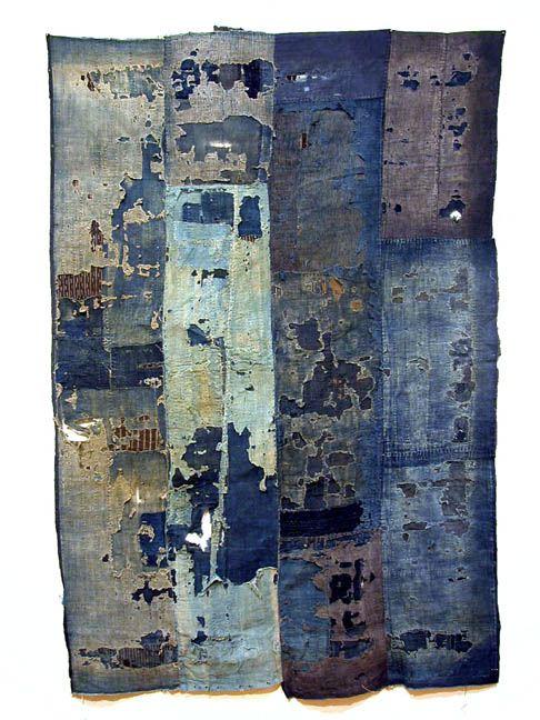 Japanese Textiles    Boro, Futon Cover  , Pre-WWII Sashiko stitching/cotton 72 x 47 inches 182.9 x 119.4 cm JTex 114