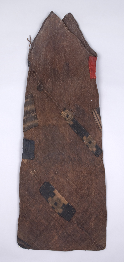 Japanese Textile    Tsunobukuro  , Early 20th C. Persimmon dyed hemp, cotton patches 17.5 x 48 inches 44.5 x 121.9 cm JTex 657