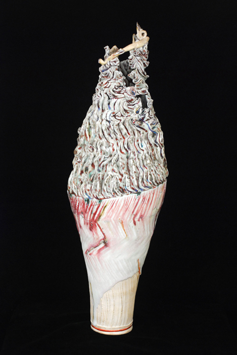 "Kentaro Kawabata    Tall Vase ""Roco""  , 2008 Porcelain and glass 21.25 x 7 x 7 inches 54 x 17.8 x 17.8 cm Kbat 4"