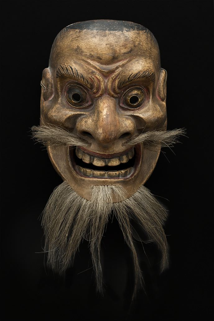 Masks    Japan - Demon  , 19th C. Lacquered wood, brass, hair 8 x 5.75 x 4 inches 20.3 x 14.6 x 10.2 cm M 63