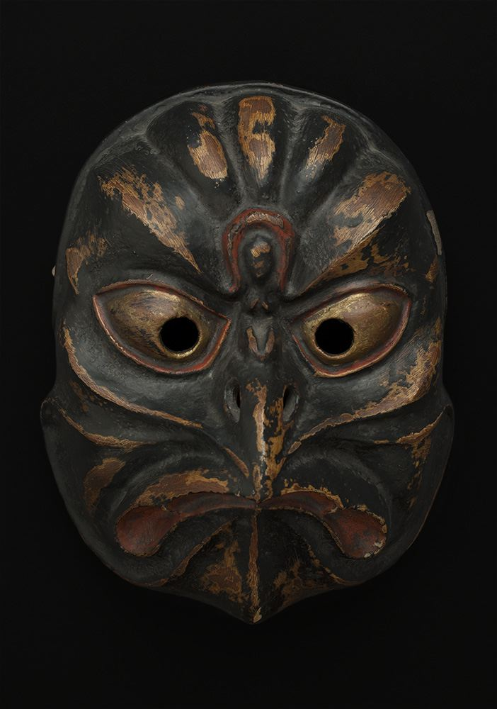 Masks    Japan - Bird Tengu Mask  , Mid 19th C. Lacquered wood, fabric back 9.75 x 7.5 x 4.5 inches 24.8 x 19.1 x 11.4 cm M 86s