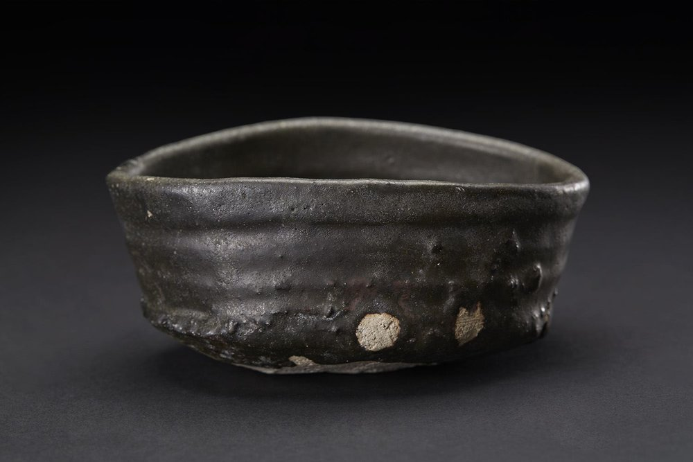 Shiro Tsujimura    Kuro-Oribe Chawan  , 2007 Mixed iron, charcoal (mokutan), Chooseki, etc, and firing with 1300C. And then proceed by rapid cooling, make it become black color 3 x 6.5 x 5 inches 7.6 x 16.5 x 12.7 cm STs 2