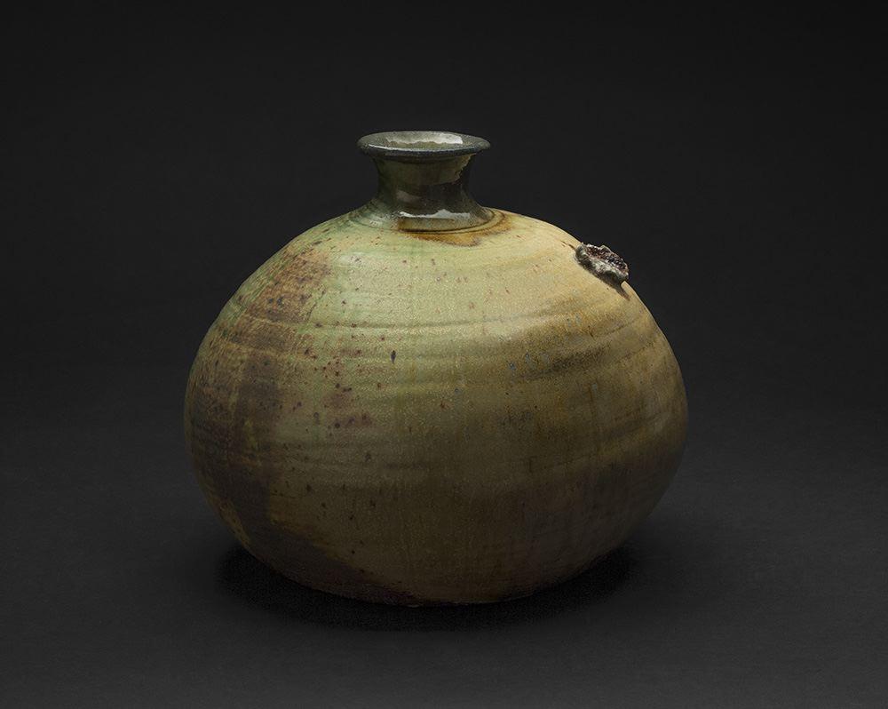 Takashi Nakazato    Green Henko Vase  , 2005 Karatsu ware 10 x 11 x 11 inches 25.4 x 27.9 x 27.9 cm TaN 1