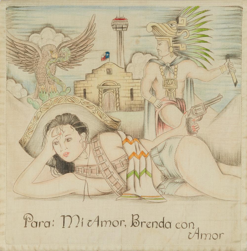Anonomous Paño Artist    Para: Mi Amor, Brenda con Amor  , n.d. Ink on handkerchief 15 x 14.75 inches 38.1 x 37.5 cm APA 2