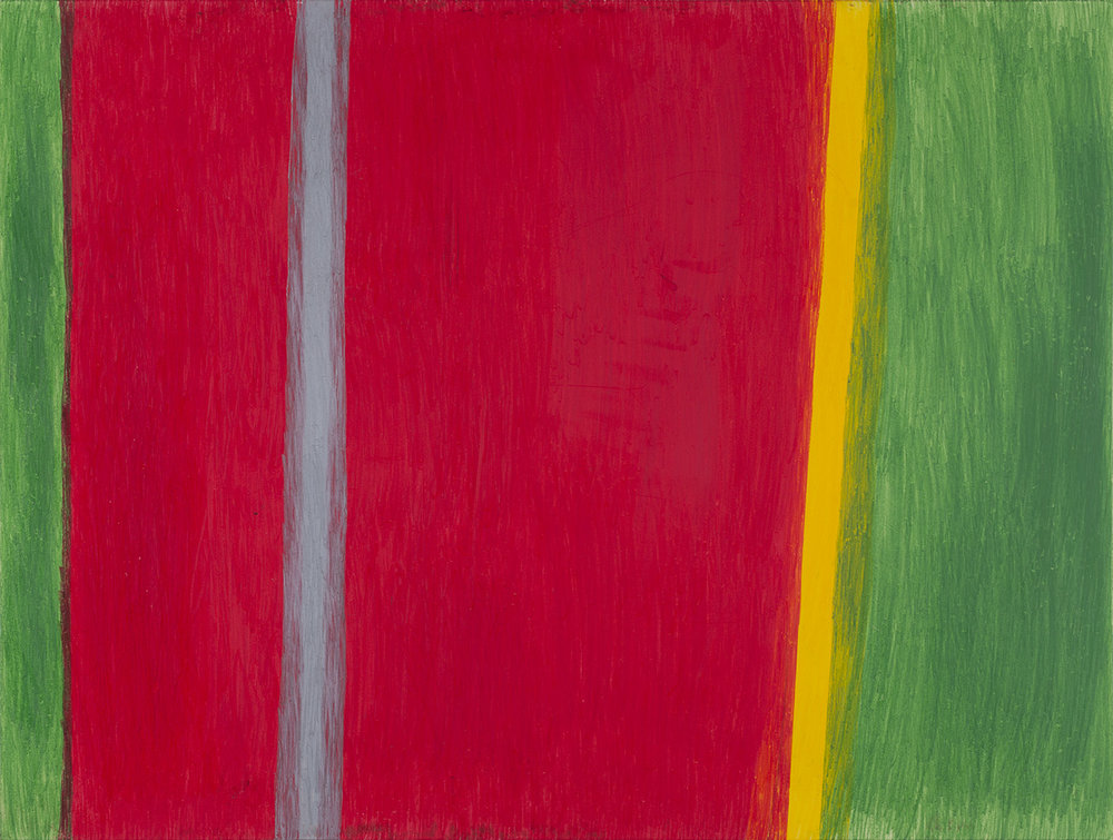 Hidetaka Kaji    Red, green, grey and yellow  , 2014 Colored pencil, paper, wooden panel 18 x 24 inches 45.7 x 61 cm HKaj 5