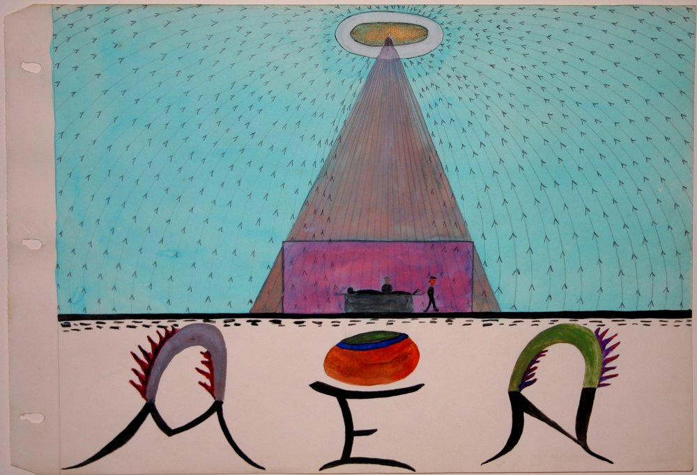 Melvin Edward Nelson    UFO  , c. 1961-1965 Watercolor on Paper 11 x 16.5 inches 27.9 x 41.9 cm Nel 157