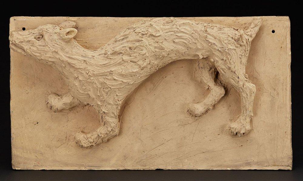 Jasmin Joseph    Dog  , 1955 Terra cotta 8 x 14.5 x 2.5 inches 20.3 x 36.8 x 6.4 cm JJ 9