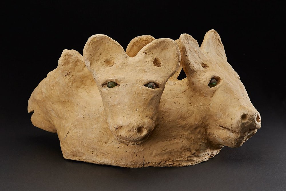 Burgess Dulaney,  Four Animal Heads, circa 1970-1989, Clay, marble 9 x 17 x 11 inches, 22.9 x 43.2 x 27.9 cm, BDu 1