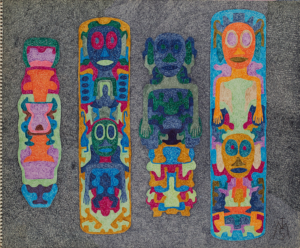 Matthew I Smith    Untitled (totem poles)  , 1973 Marker on paper 14 x 17 inches 35.6 x 43.2 cm MIS 101