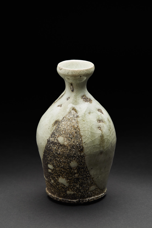 Katsumi Kako    Shizuku Tokkuri  , 2006 Oribe glaze, woodfired ceramic 6.5 x 3.5 x 3.5 inches 16.5 x 8.9 x 8.9 cm KKa 3