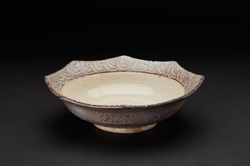 Touri Maruyama    Nezumi Shino Octagonal Plate  , 2008 Mino moxa clay with glaze 2.75 x 9 inches 7 x 22.9 cm TMar 5