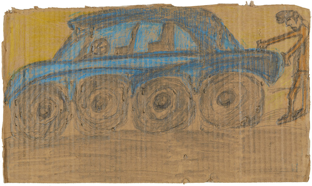Miguel Ramon Morales Diaz    Untitled  , circa 2017 Crayon, graphite on cardboard 8.75 x 15 inches 22.2 x 38.1 cm MRMD 7
