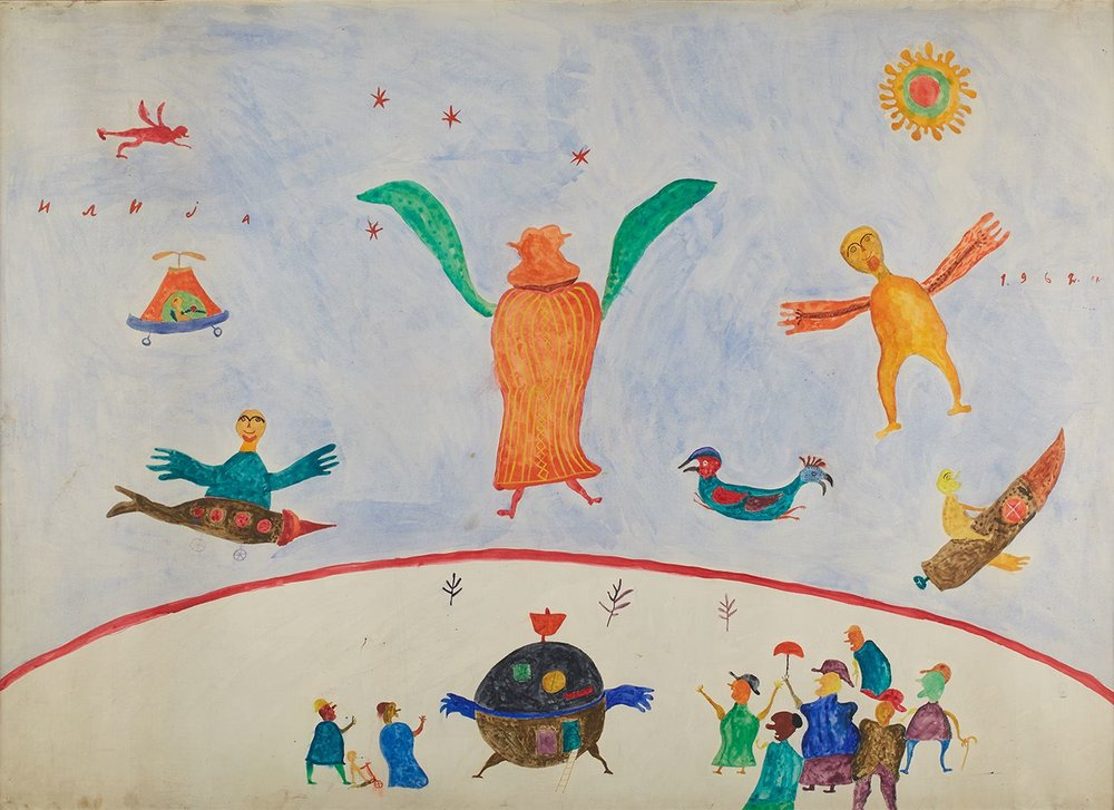Ilija Bosilj Bašičević,    Interplanetary Travelers  , 1962, Gouache on paper, 42.125 x 59.125 inches, 107 x 150.2 cm, IBo 13