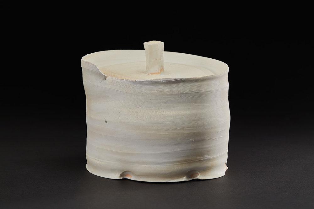 Tsubusa Kato    Mizusashi with Signed Wooden Box  , 2009 Porcelain 7 x 7 x 6.5 inches 17.8 x 17.8 x 16.5 cm KTS 9