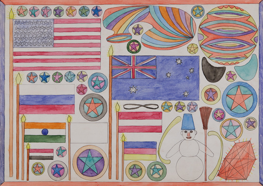 Alex Хatkevich    National flags with gold tips  , Saturday, March 8, 2015 Pencil and watercolor on paper 11.75 x 16.5 inches 29.8 x 41.9 cm AXa 6