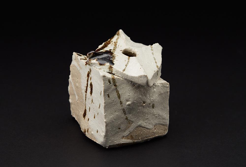 Shozo Michikawa  Small Twist Form   Stoneware with Kohiki glaze 3.78 x 3.78 x 3.78 inches 9.6 x 9.6 x 9.6 cm SMi 23