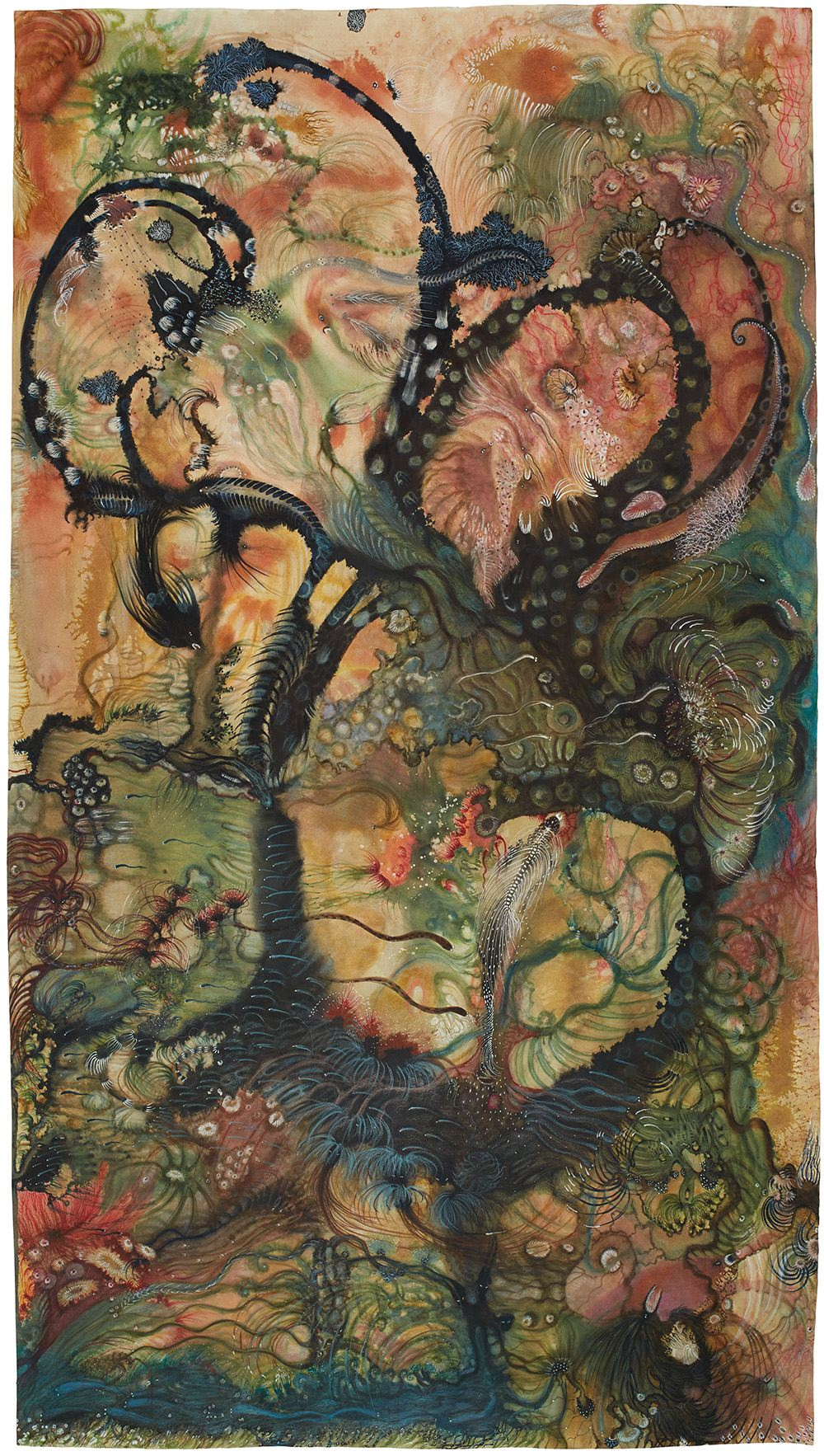 Izabella Ortiz    L'ecume des Songes  , 2017 Ink, felt pen, colored pencil, acrylic paint on paper 70.87 x 39.37 inches 180 x 100 cm IzO 43