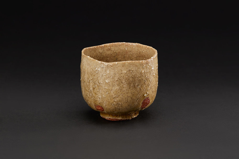 Akira Takeuchi  Guinomi  , 2018 Mogusa clay, red clay, ash glaze 2.25 x 2.5 x 2.5 inches 5.7 x 6.4 x 6.4 cm TaA 8