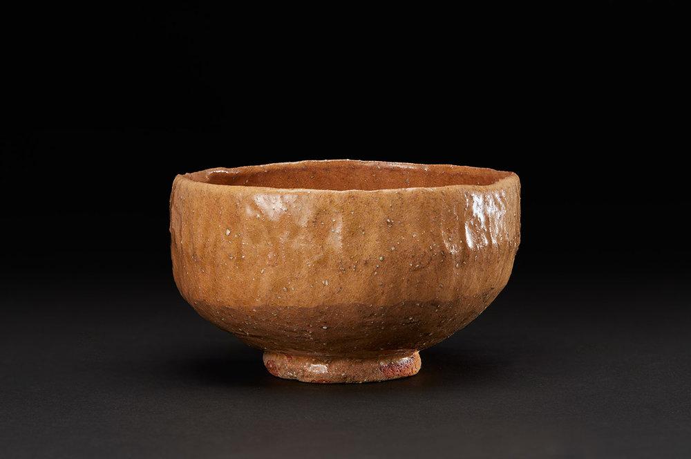 Akira Takeuchi  Chawan  , 2018 Mogusa clay, red clay, ash glaze 3 x 5.25 x 5.25 inches 7.6 x 13.3 x 13.3 cm TaA 13