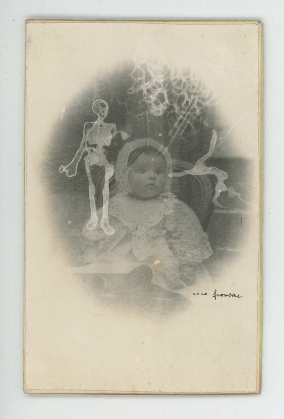 Coco Fronsac  Baby 4, Spiritualist Photo Series  , 1985/2010 Ink, etching on vintage photograph 4.17 x 3.82 inches 10.6 x 9.7 cm CoF 16