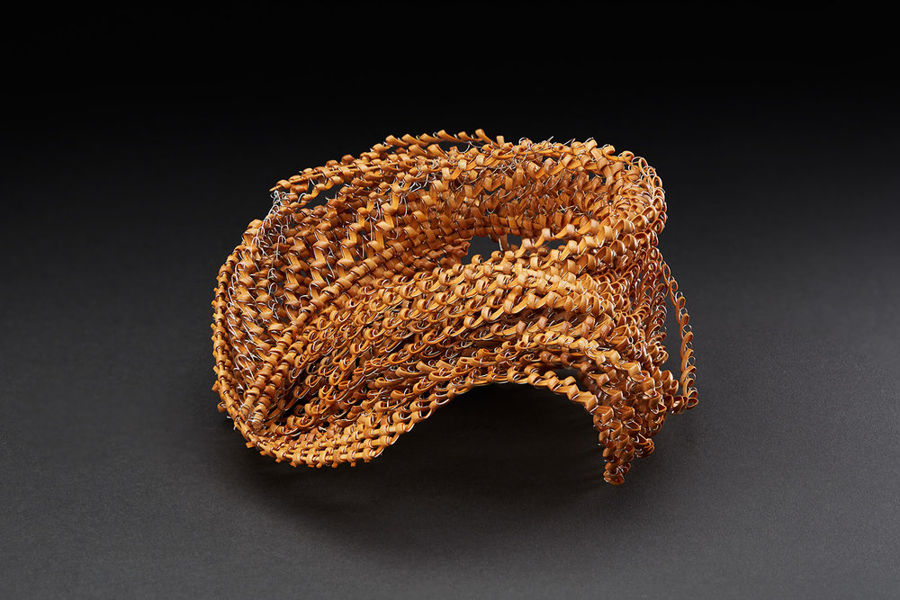 Michiko Fukai  The Wave II  , 2015 Rattan, stainless steel 4.33 x 9.84 x 7.87 inches 11 x 25 x 20 cm MFu 5